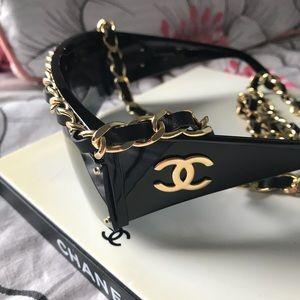 Chanel Drop Chain Leather Strap CC Sunglasses